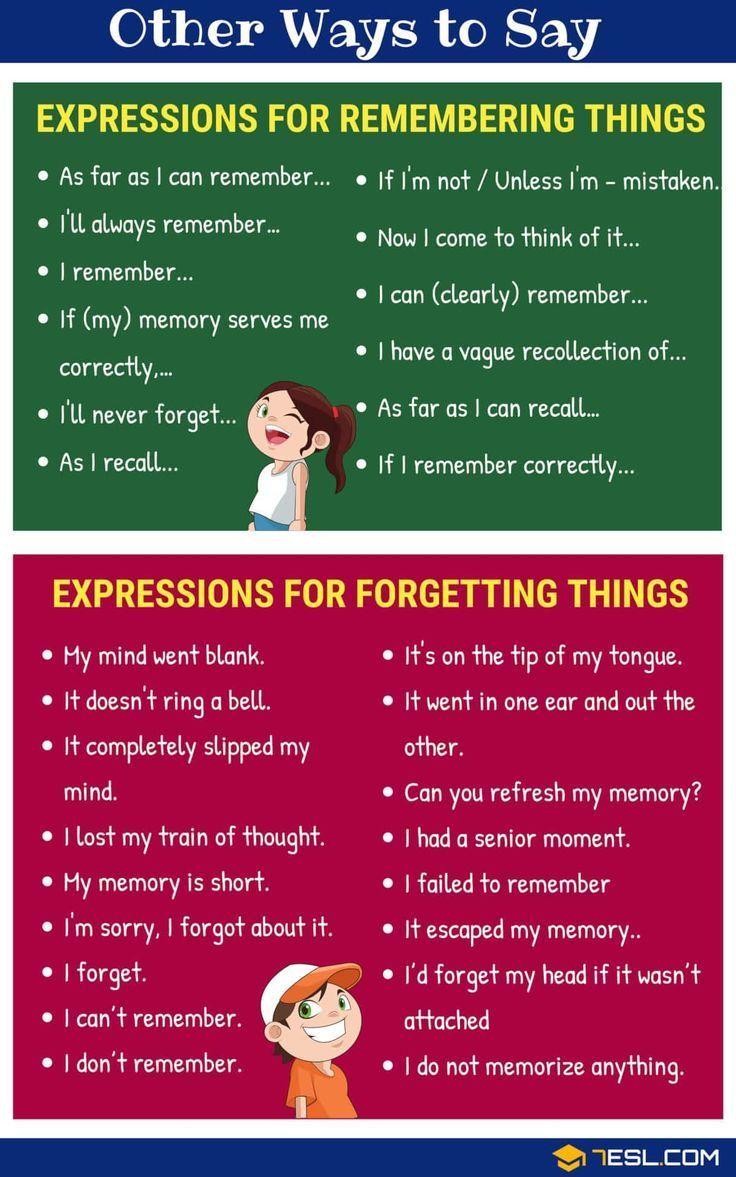 Erinnern Englisch