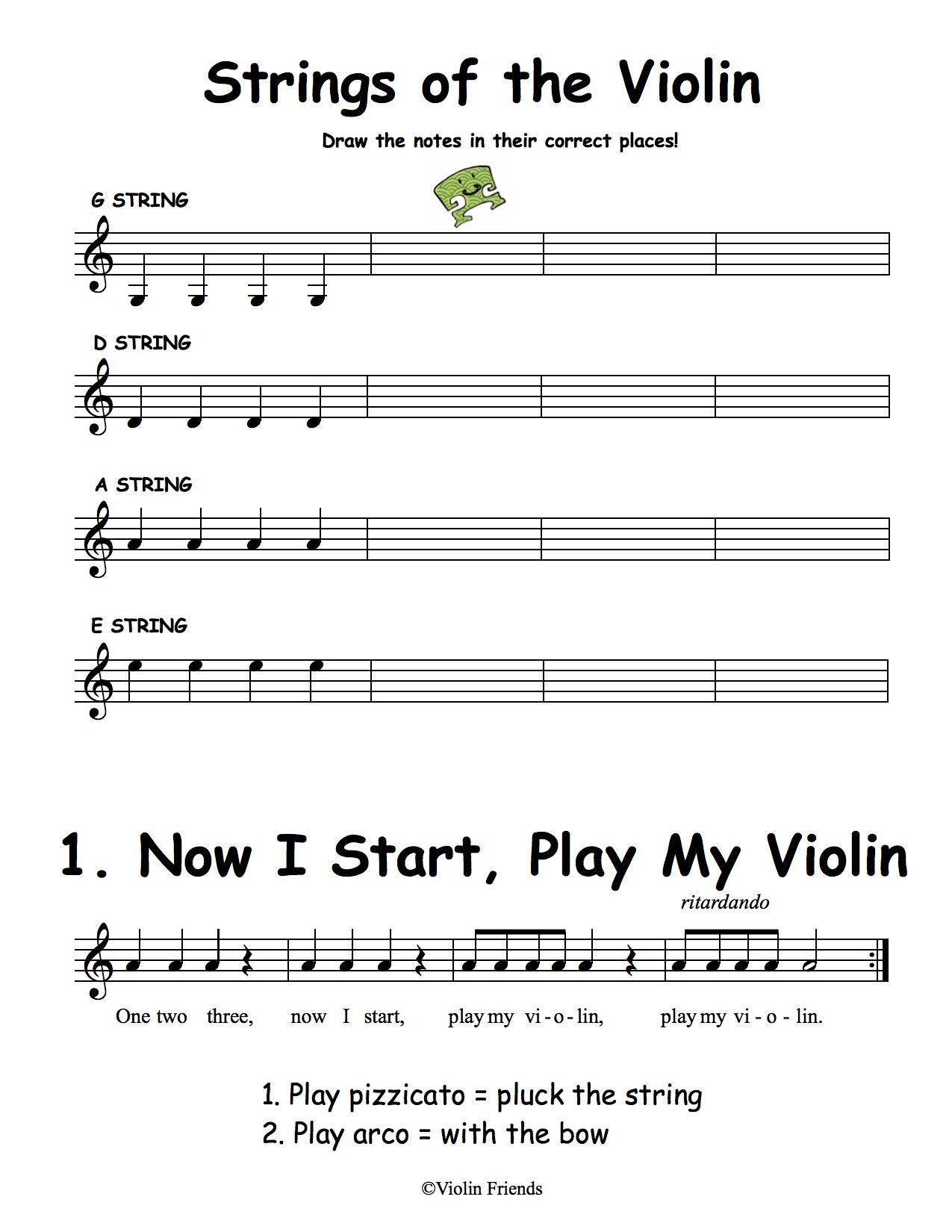 Worksheet Violin String