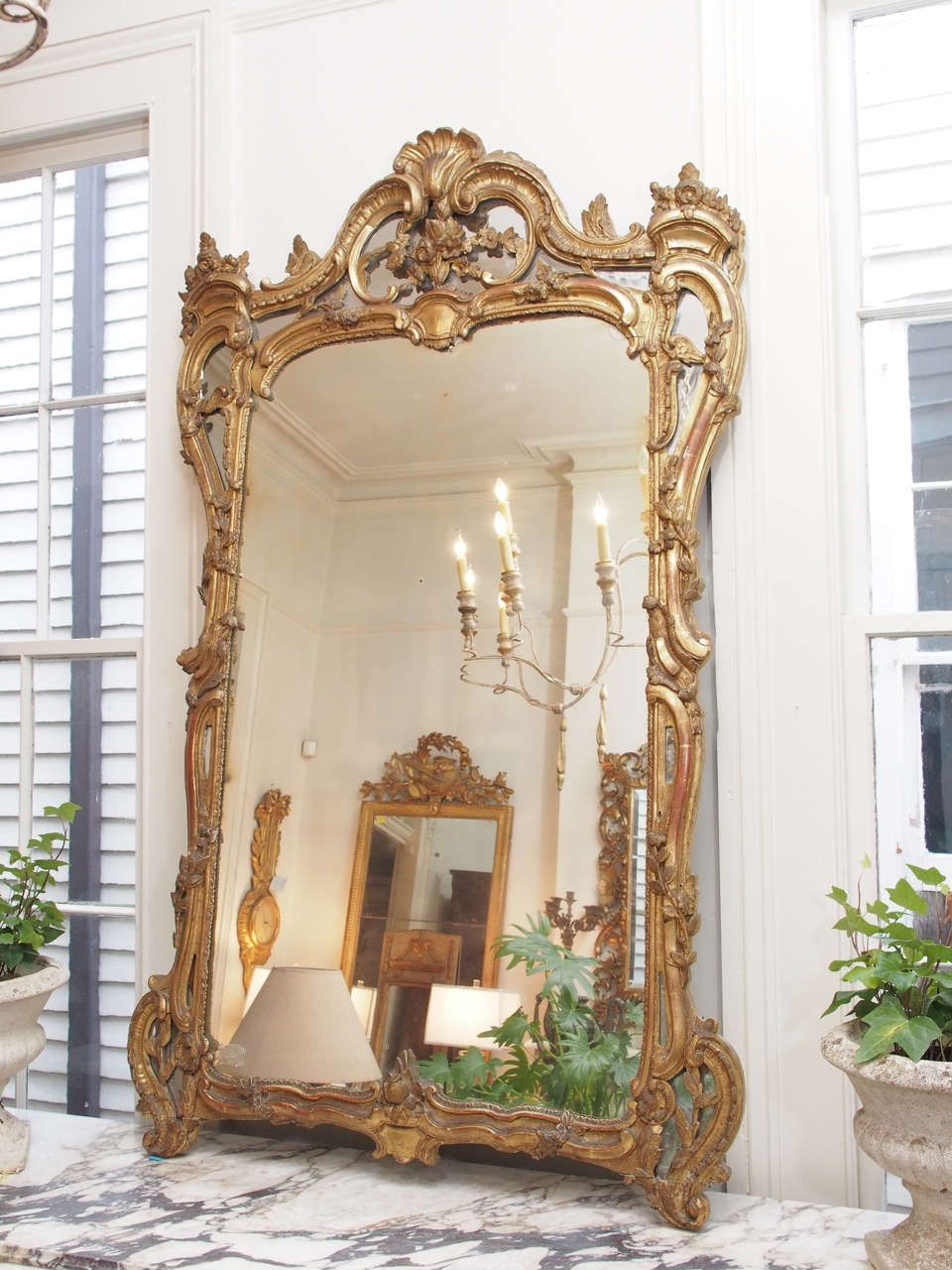 large white bathroom fireplace wall washed style height baroque products portrait mirror ornate french mirrors