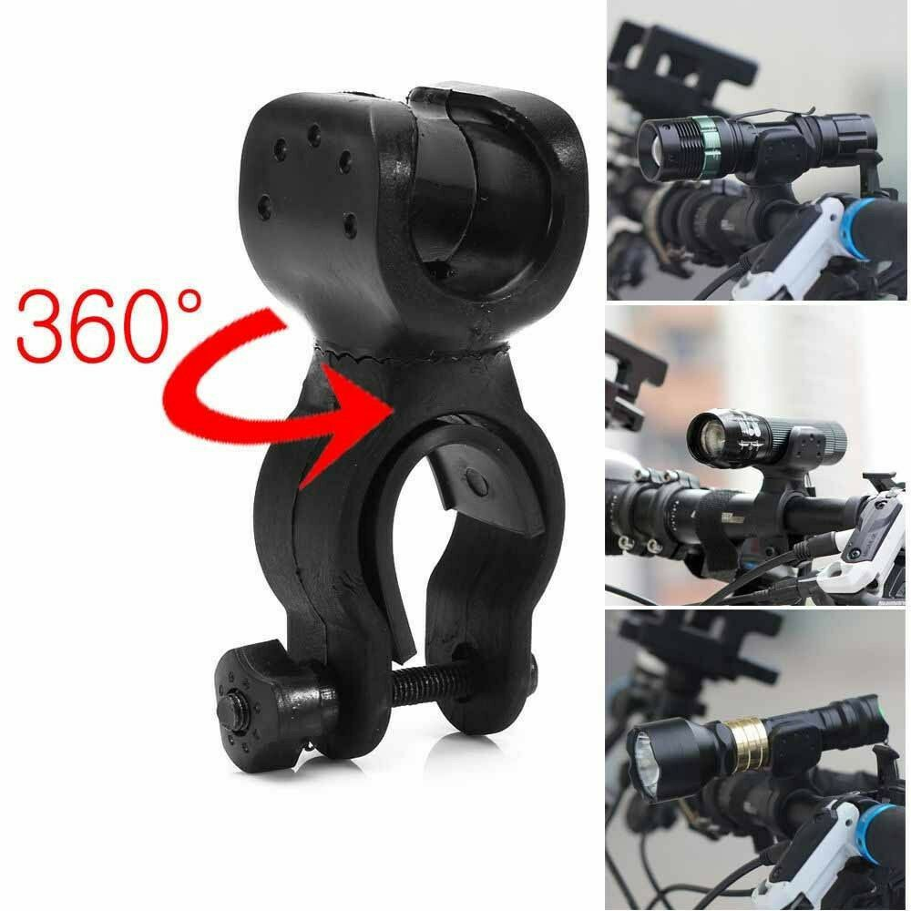 Bicycle Front Light Bracket Torch Clip Mount Holder for Flashlight 360°Rotation