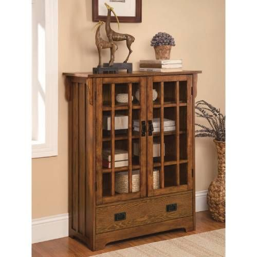 Coaster Furniture 950186 2 Door Curio Cabinet With 4 Shelves In Distressed  Warm Brown Oak