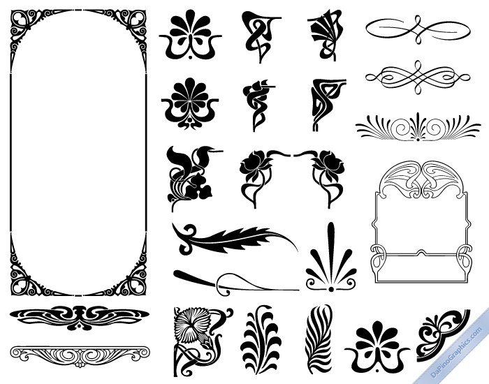 Art nouveau design elements line arts pinterest art for Deco 5 elements