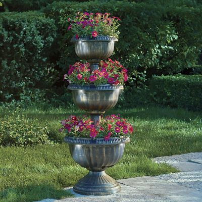 Looking For An Elegant Addition To Your Garden This Solar Tiered Planter Features Three Tiers Of Planting Space With Ea Tiered Planter Resin Planters Planters