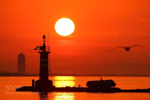 Leuchtturm Izmir / Türkei by leitnerkonrad  sky landscape sea sunset water reflection nature beach sun light ocean silhouette evening seascape d