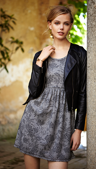 Summer outfit @Anthropologie Grey floral dress, black leather jacket #fashion #summer