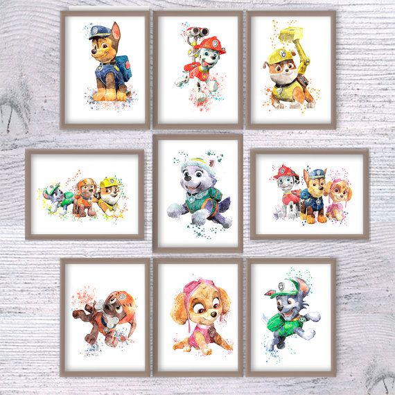 Rubble Paw Patrol watercolor poster Paw Patrol by ColorfulPoster ...