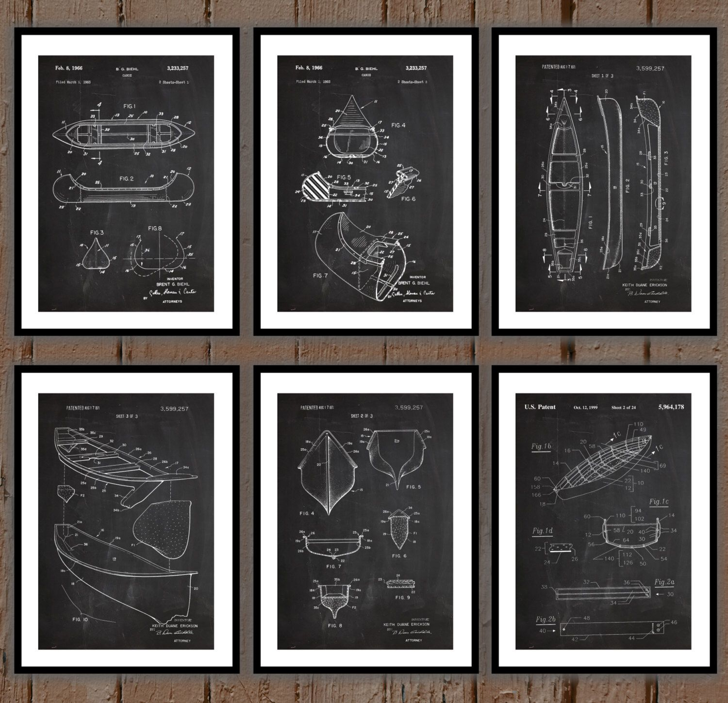 Canoe patent prints set of 6 canoe patent canoe poster canoe canoe patent prints set of 6 canoe patent canoe poster canoe blueprint malvernweather Image collections