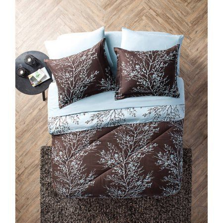Vcny Blue and Chocolate 8-Piece Reversible Leaf Bed in a Bag Bedding Set, Sheet Set Included, Brown
