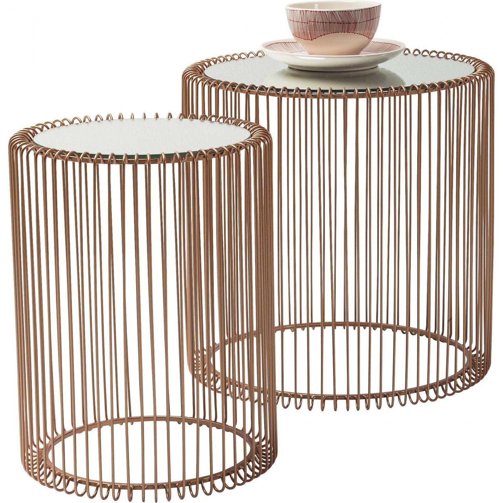 Tables D Appoint Rondes Wire Cuivre Set De 2 Kare Design En 2020 Table D Appoint Table D Appoint Ronde Et Table De Chevet