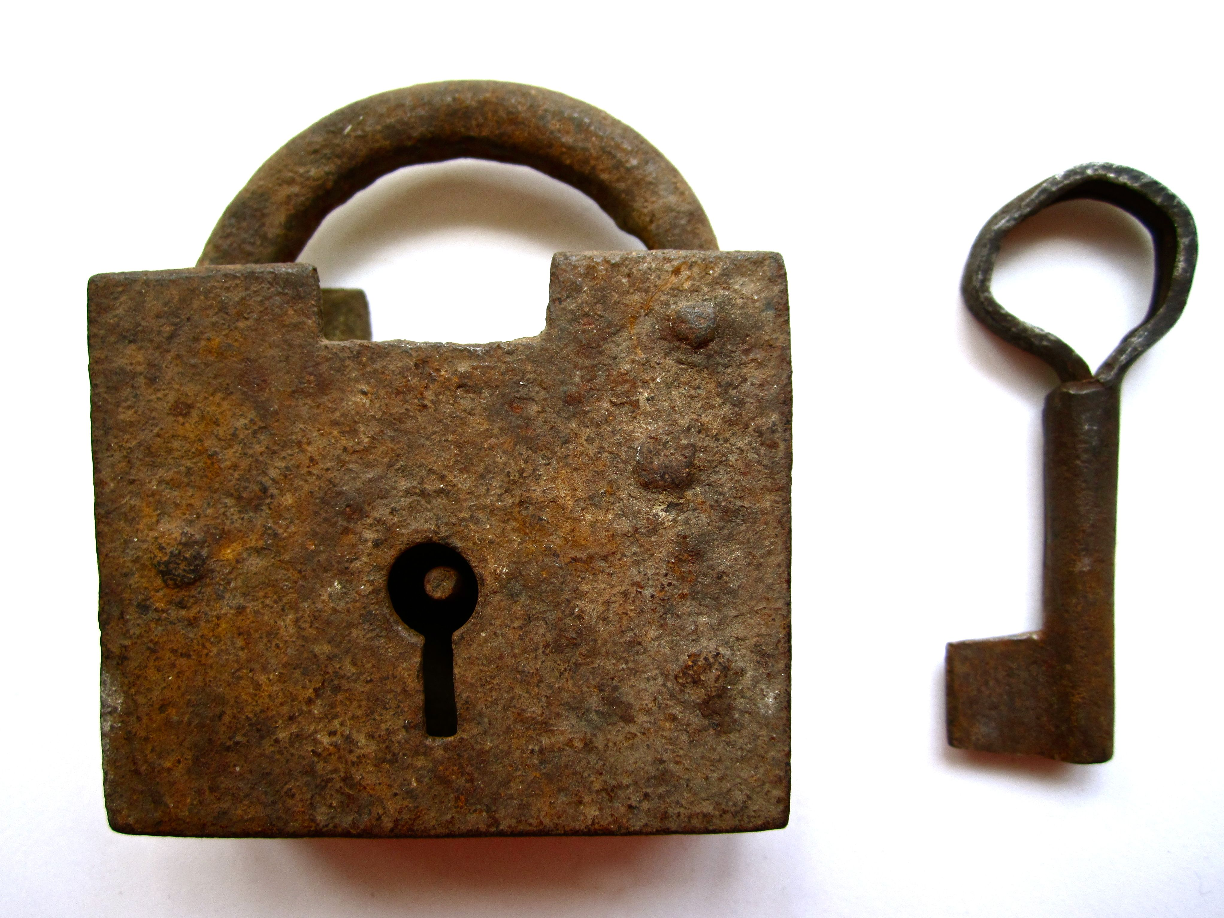 Antique Hand Forged Square Lock and Key SOLD