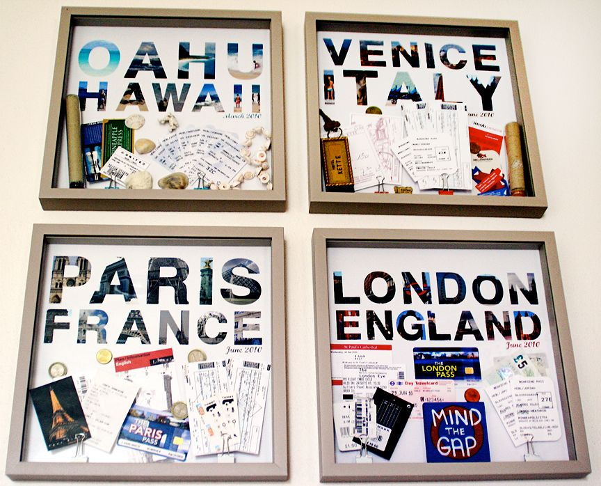 Save maps, tickets, and pictures from abroad to create travel memories wall art. Brilliant!