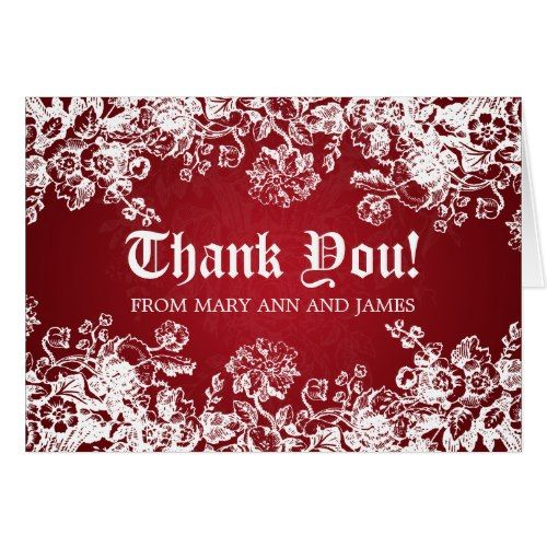 Gothic Thank You Cards Wedding Victorian Flourish Red Card