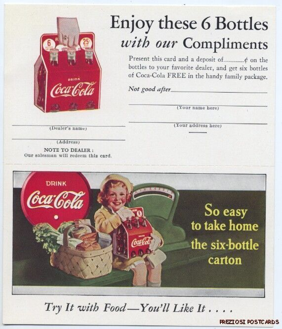 1930s postcard A http://www.7xpub.com/advertising-covers/1722-six-coke-bottles-coupon-postcard-1930s.html