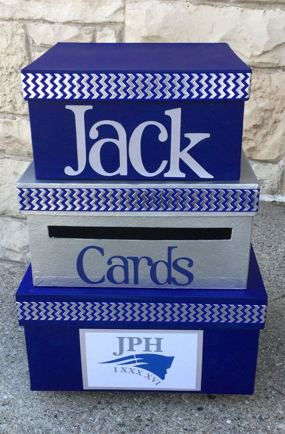 Custom Card Box 3 Tier Card Holder Square Blue Silver Bar