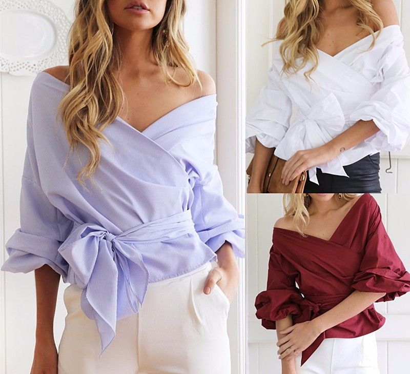 eb809b8459d23 Criss Cross Belted Bow Puff Sleeve V-Neck White Red Blue-Striped Bandage  Top Blouse