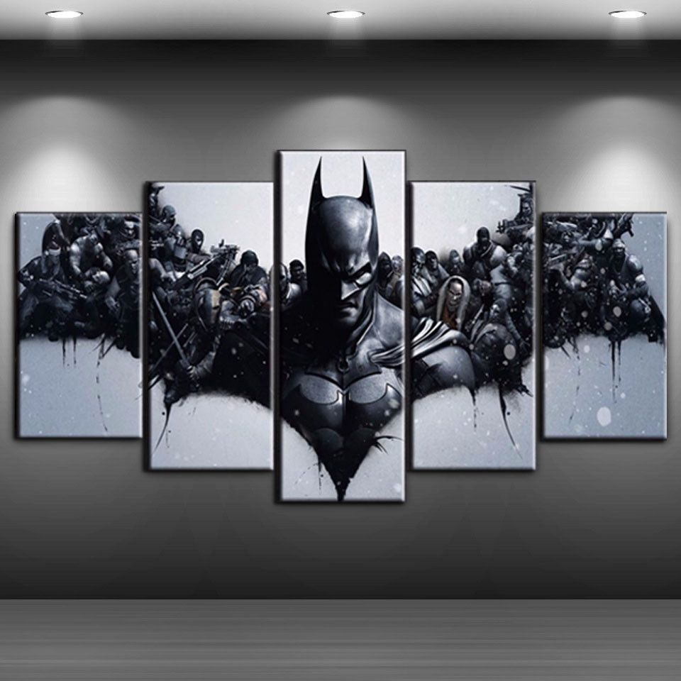 Framed 5 Panels Batman Painting Printed Movie Canvas Wall Art Home Decorative Unbranded Artdeco Cuadros Modernos Cuadros Modernos Para Comedor Vinilos