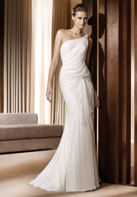 One Shoulder Plain Sheath Wedding Gown With Fabric Drapery