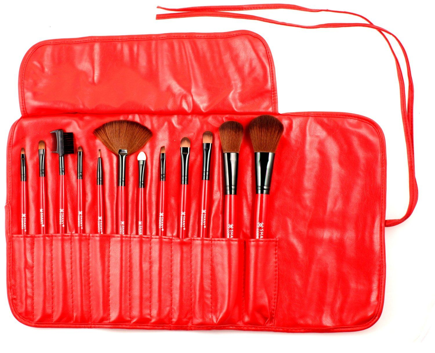 Shany Professional 13 Piece Cosmetic Brush Set With Pouch Set Of 12 Brushes And 1 Pouch Red Price Cosmetic Brush Set It Cosmetics Brushes Shany Cosmetics