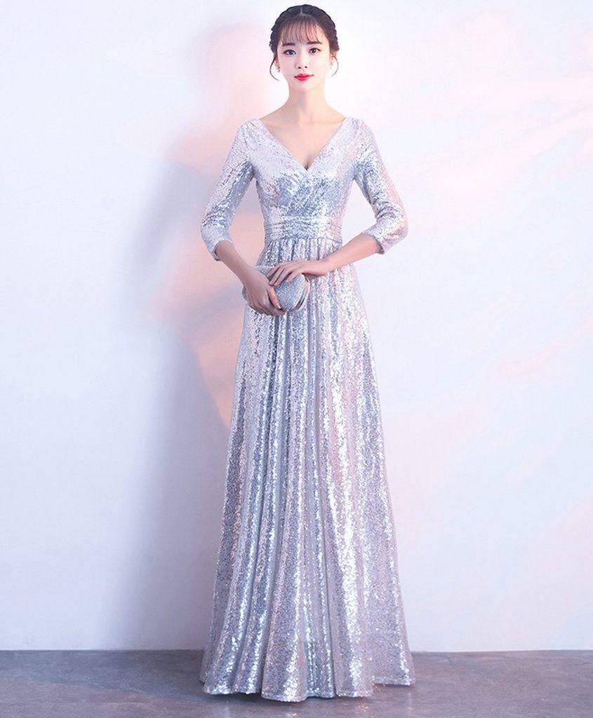 Silver sequin mid sleeve long v neck evening dress prom dress