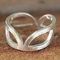 Novica Sterling silver band ring, Melody