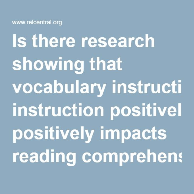 Is There Research Showing That Vocabulary Instruction Positively