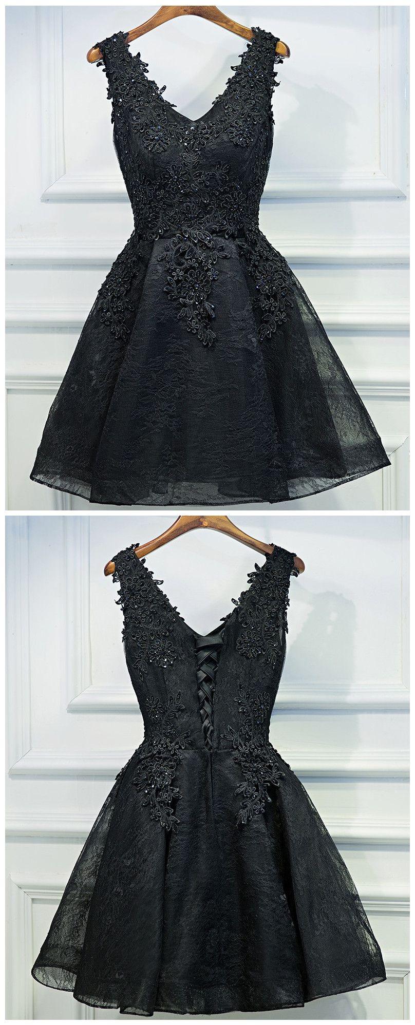 Black short prom dress black lace prom dress prom promdress