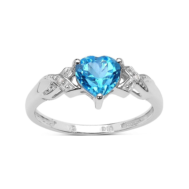 9ct White Gold Blue Topaz /& Diamond Engagement Ring,Size H,I,J,K,L,M,N,O,P,Q,R,S