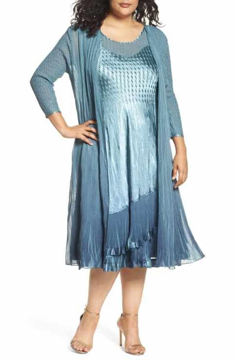Komarov Tiered Dress With Jacket Plus Size Moda Plus Size
