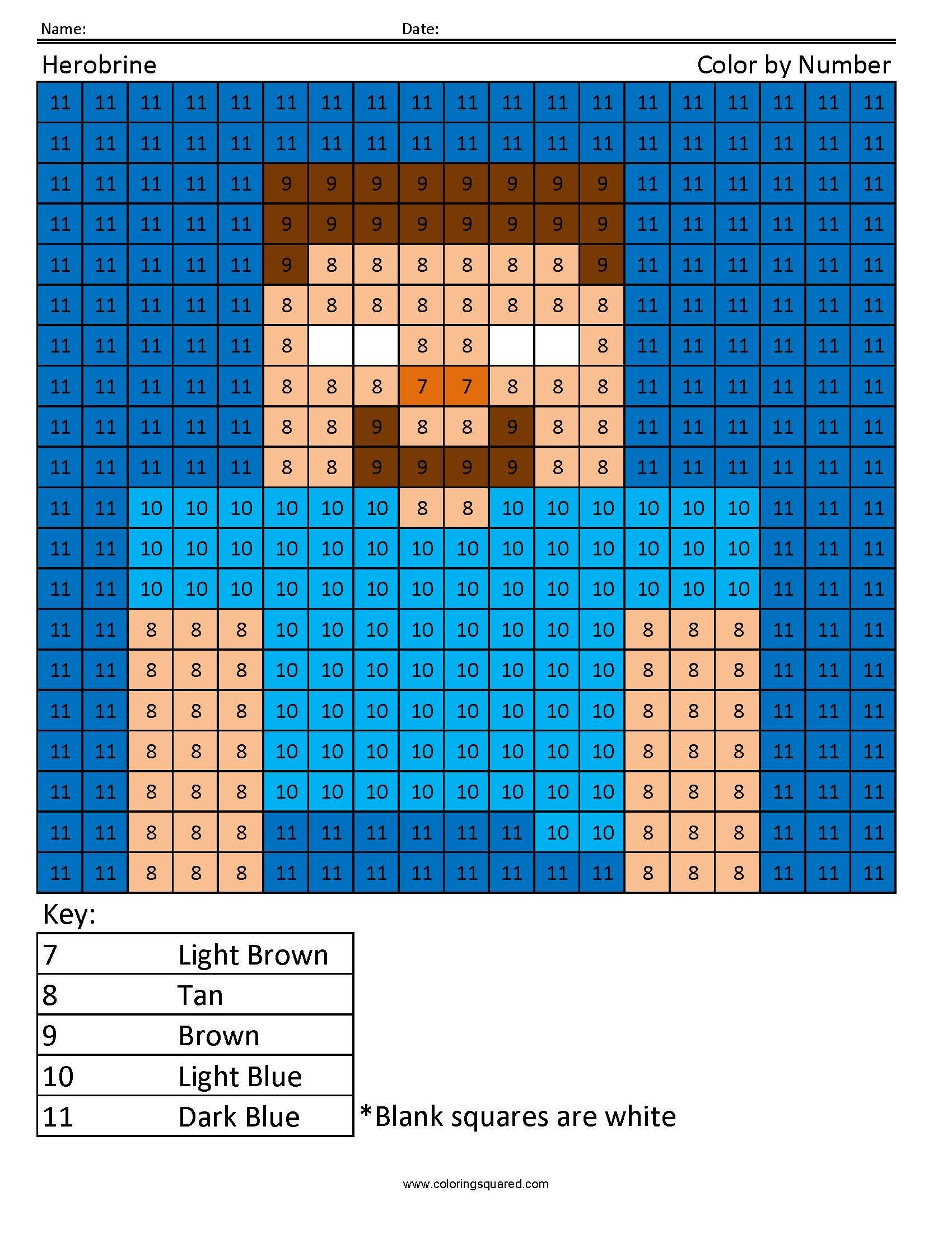 Herobrine- Color by Number | Pinterest | Number, Worksheets and Crochet