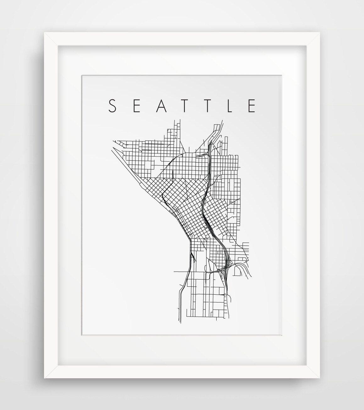 Seattle Seattle Art City Map Art Travel Art Seattle Decor