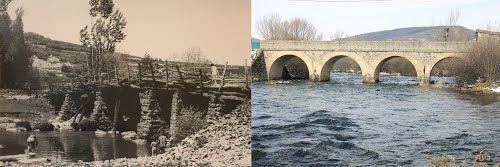 Rio Pisuerga a su paso por Arbejal bajo el antiguo y nuevo puentes dentro del parque natural de fuentes carrionas y fuente cobre en la montaña palentina.