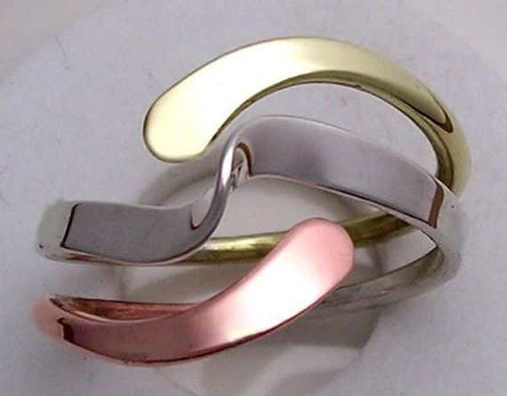 Tri-Metal Wave Energy Ring in Sterling Copper and Brass