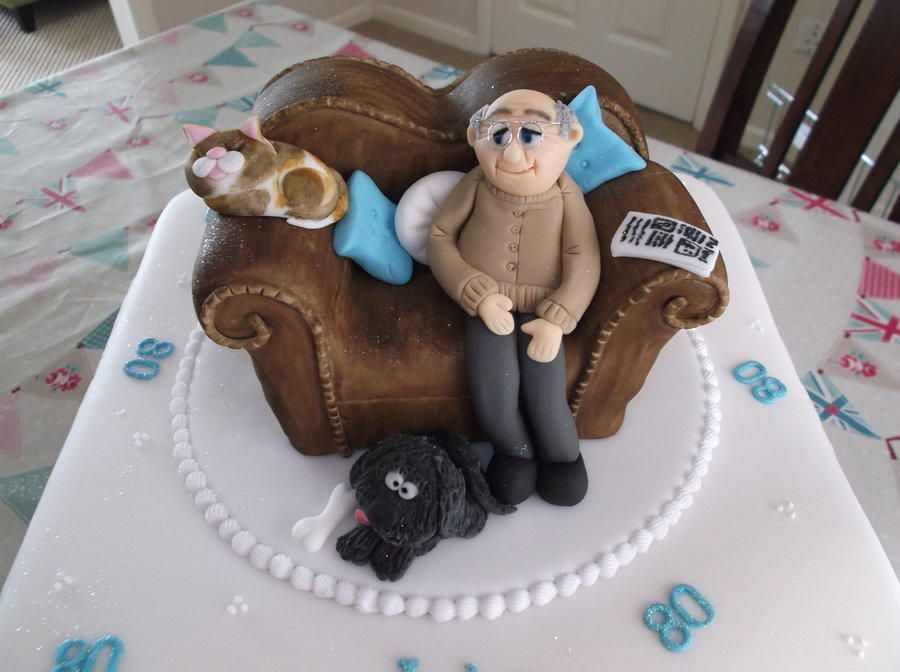 Brief for this cake old man on brown leather sofa bald grey on