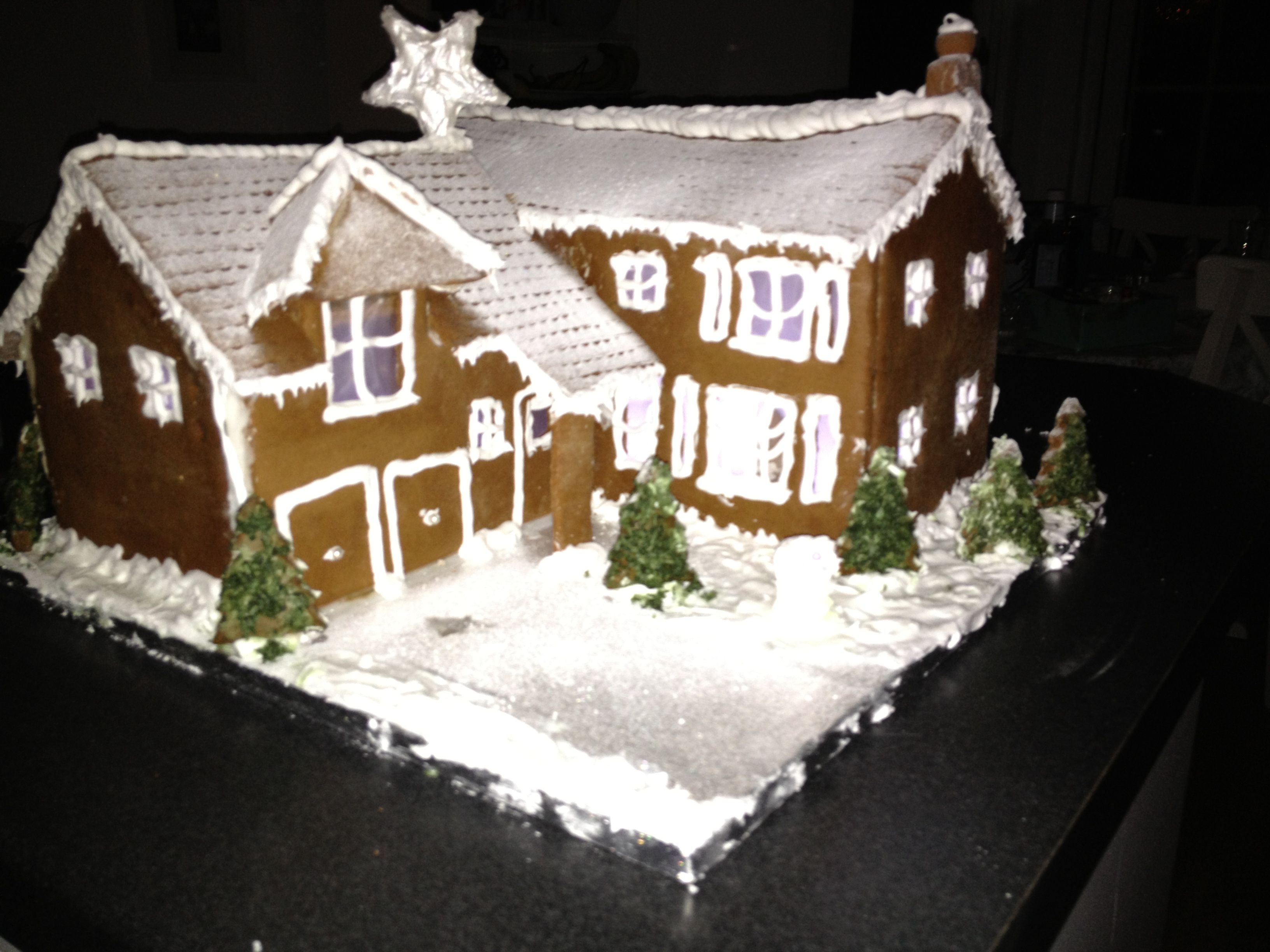 GF Gingerbread house with lights