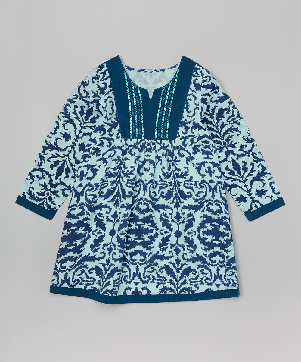 Blue Damask Dress - Toddler & Girls