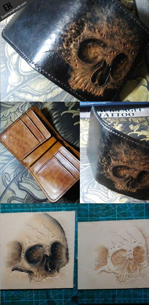Handmade skull short leather wallet men tooled carved short wallet for | EverHandmade