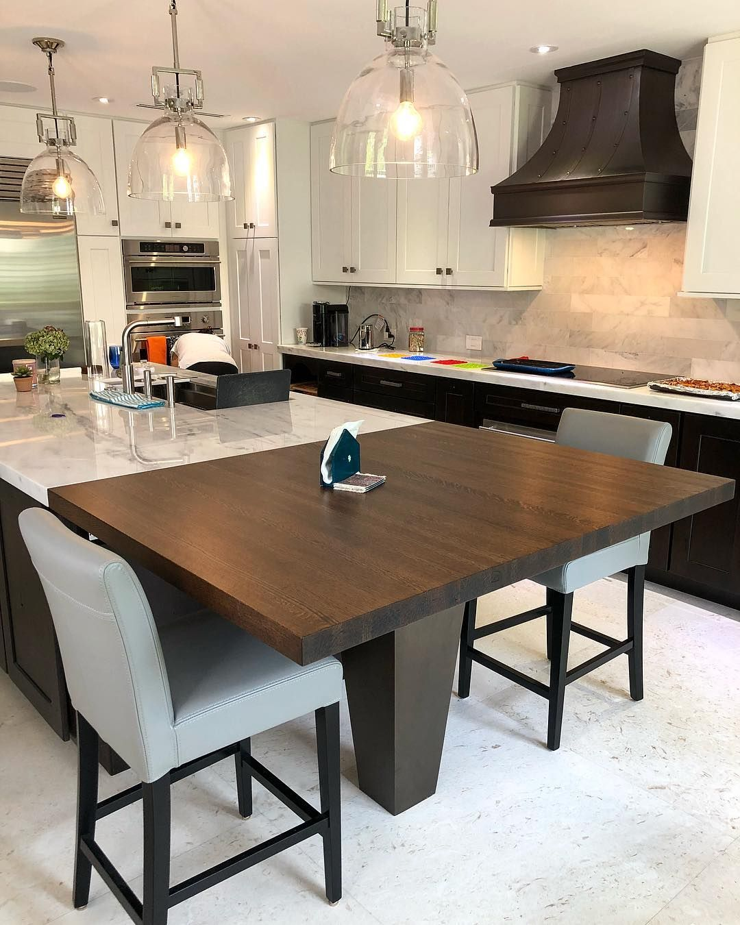 Good Morning Here S Another Beautiful Kitchen Island Extension We Built With Solid White Oak And A Cu Custom Furniture Beautiful Kitchens Kitchen Inspirations