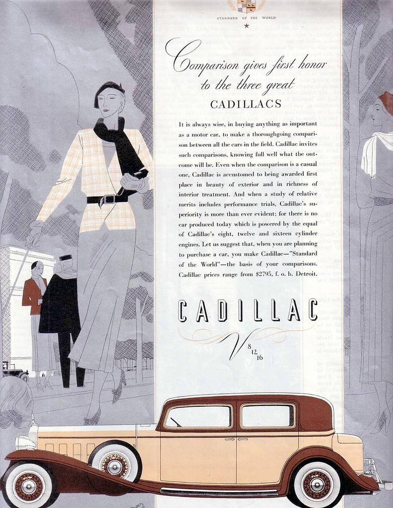 Vintage Art Deco Cadillac V-12 Passenger Town Sedan Ad 1932 Metallic ...