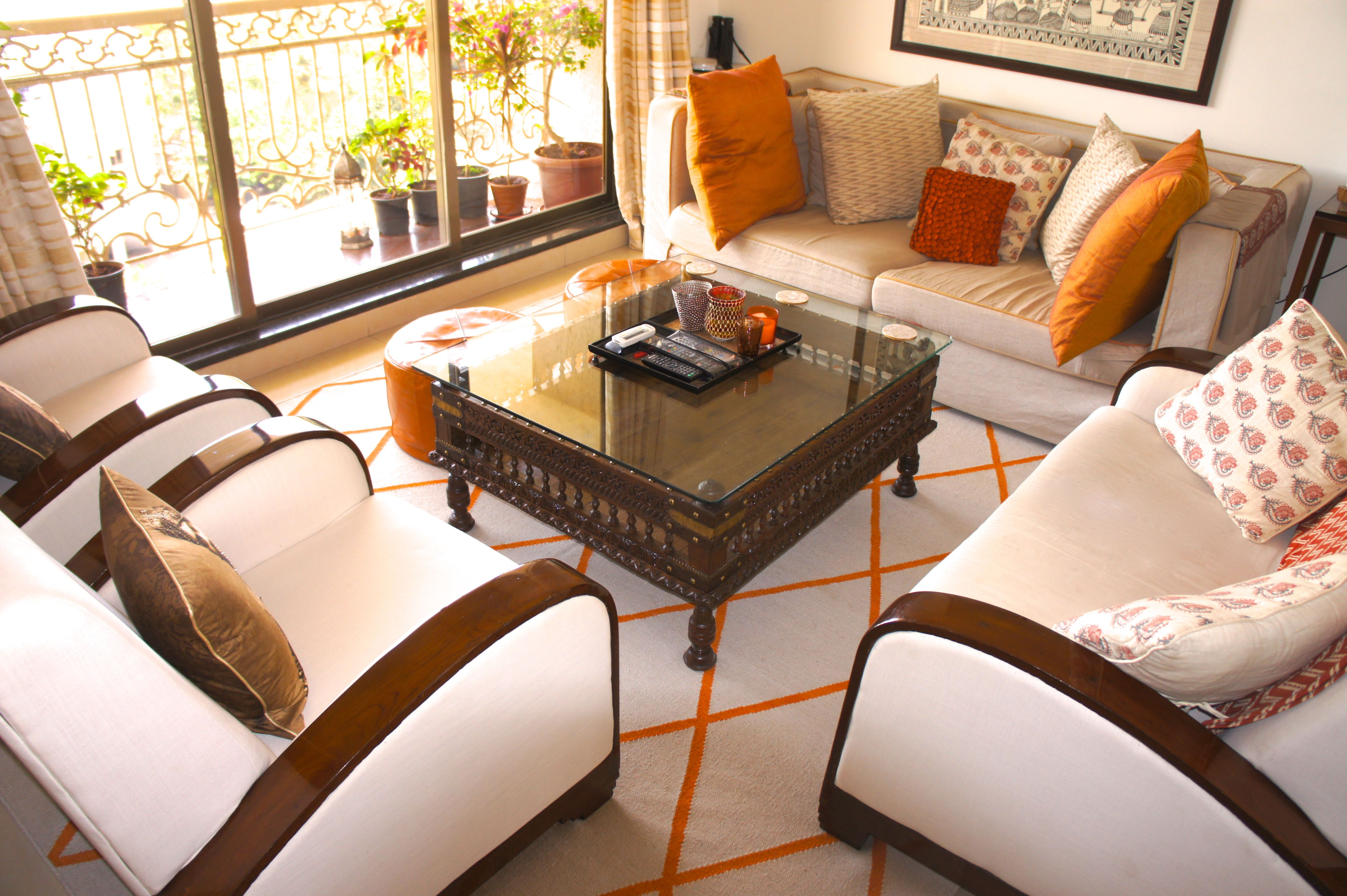 Indian Inspired Sitting Room With Art Deco Sofa And Gujurati Cradle Coffee  Table