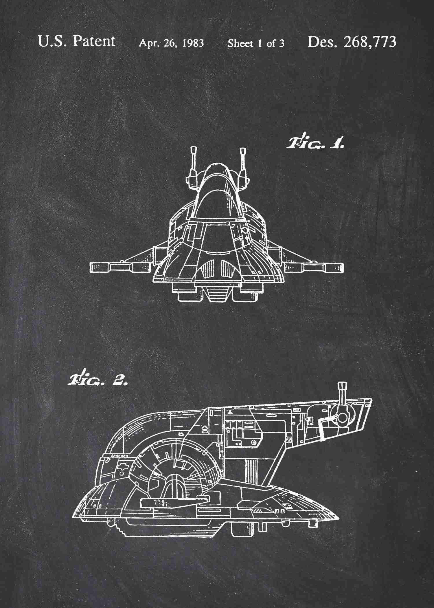 NEW Invention Patent Movie Art POSTER Star Wars Slave 1 Patent