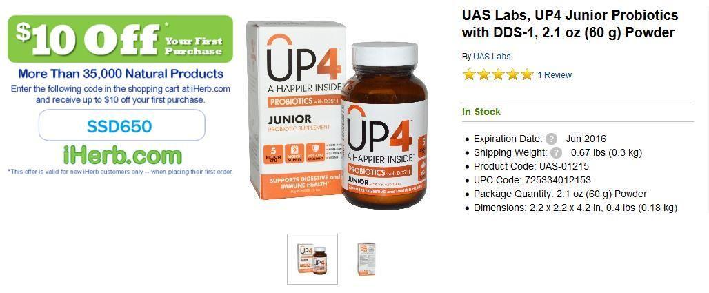 UAS Labs, UP4 Junior Probiotics with DDS-1, 21 oz (60 g) Powder