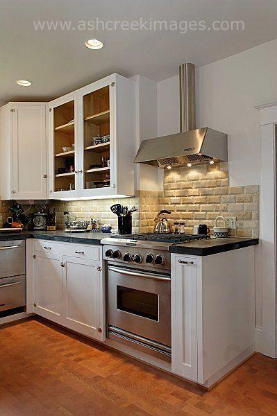 Fir flooring black soapstone countertops white enamel for White enamel kitchen cabinets