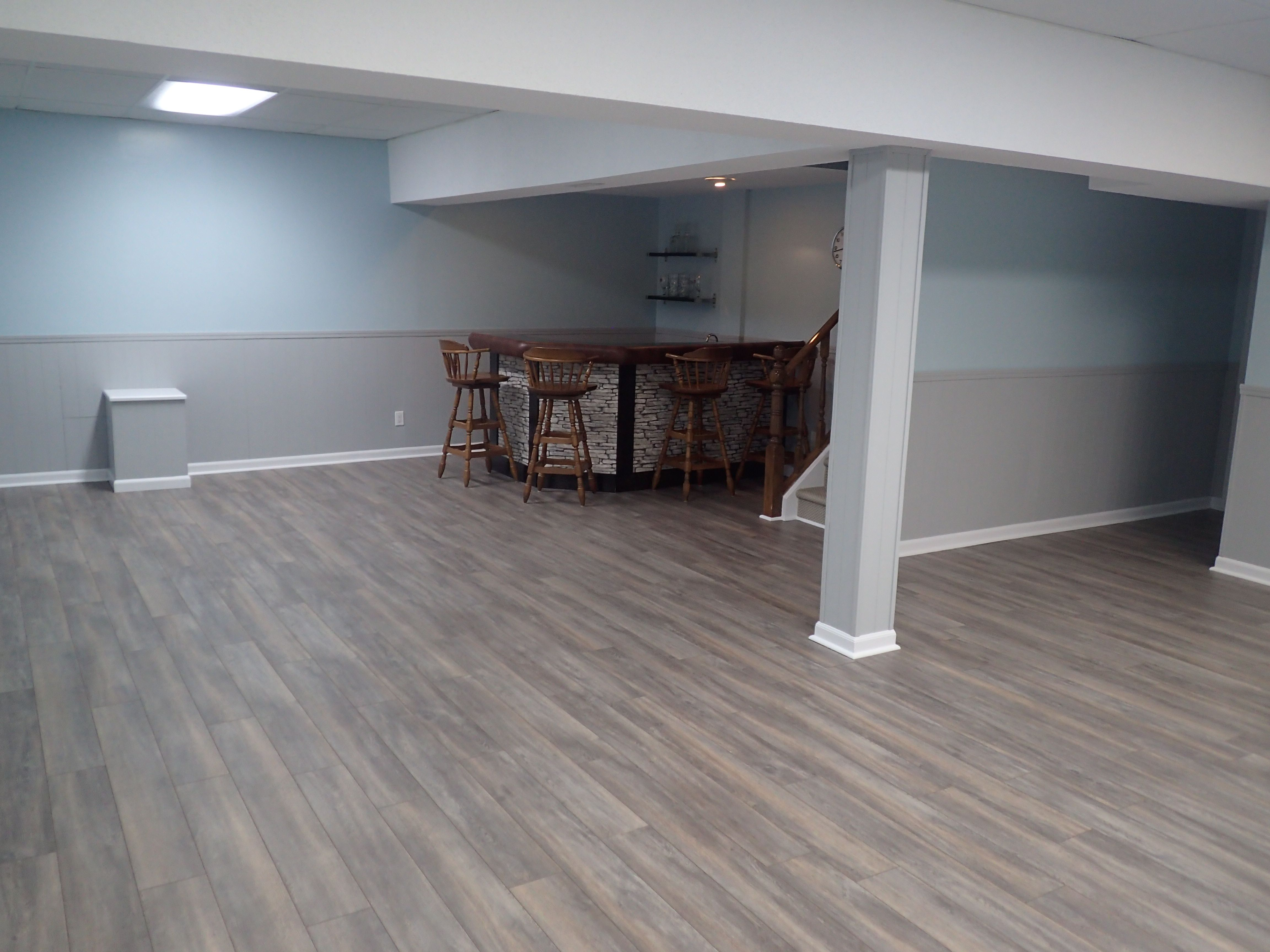 Basement Reveal Painting Wood Paneling Flooring Laminate