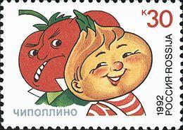 Gianni Rodari - Cipollino e il cavalier Pomodoro in un francobollo russo del 1992