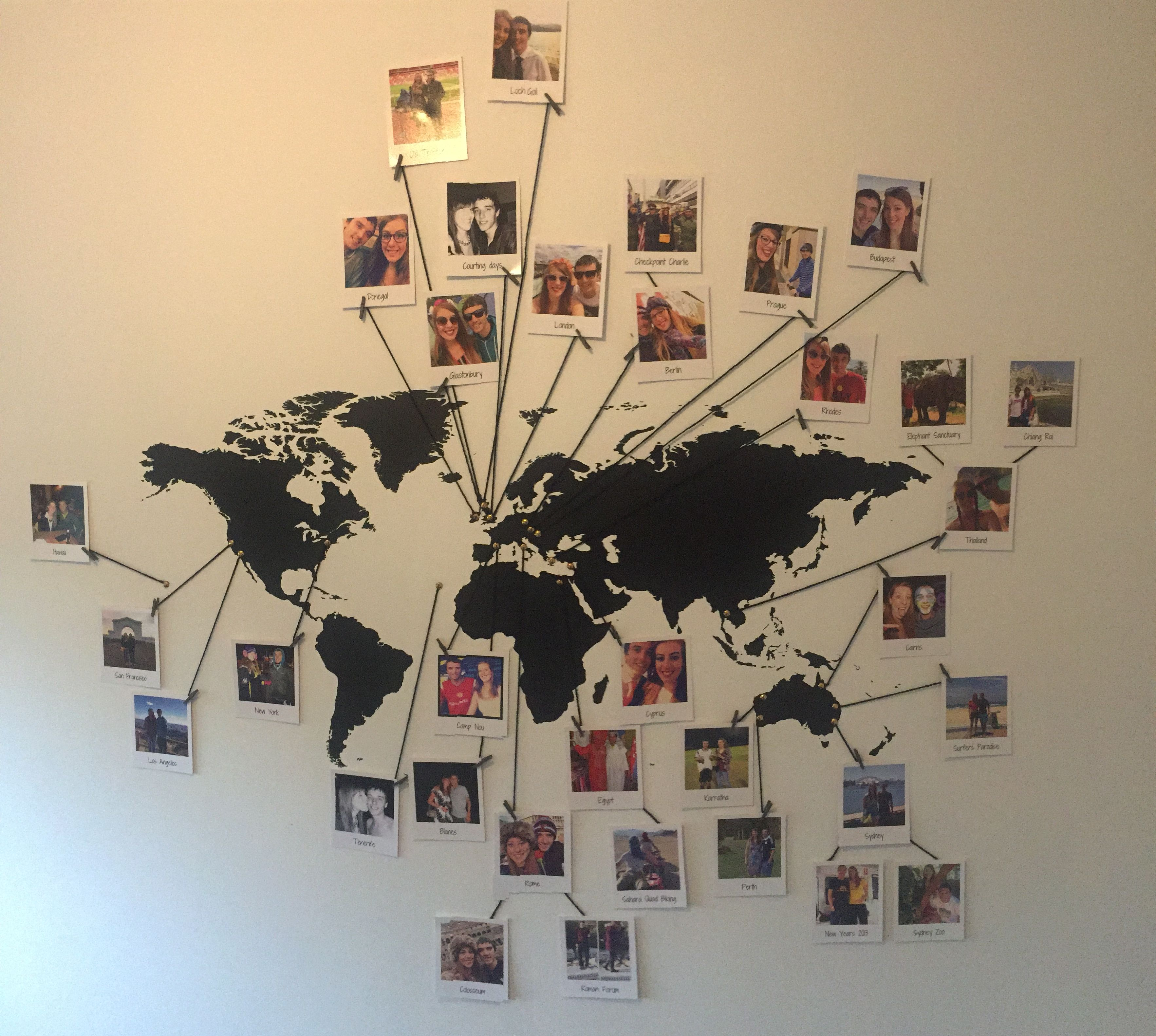 World wall map with a polaroid photo of everywhere ive been home map photo wall with so many travel photos it was costly to buy individual photo gumiabroncs Gallery