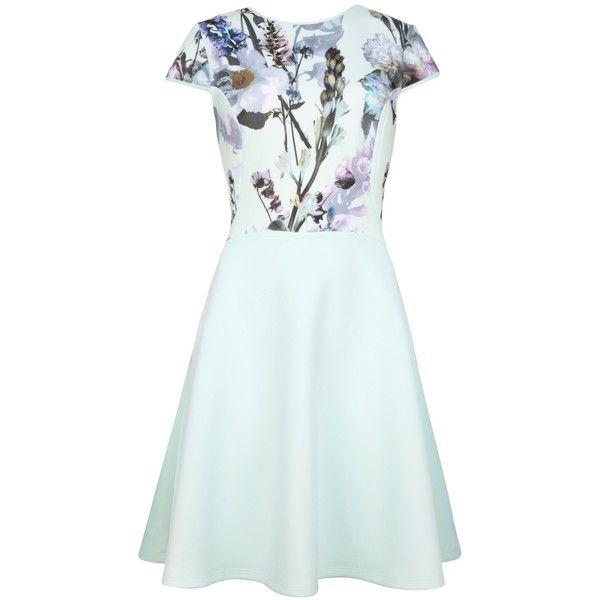 Ted Baker Torchlit Floral Dress, Mint ($145) ❤ liked on Polyvore featuring dresses, maxi dress, floral skater skirt, skater skirt, short sleeve dress and blue skater skirt