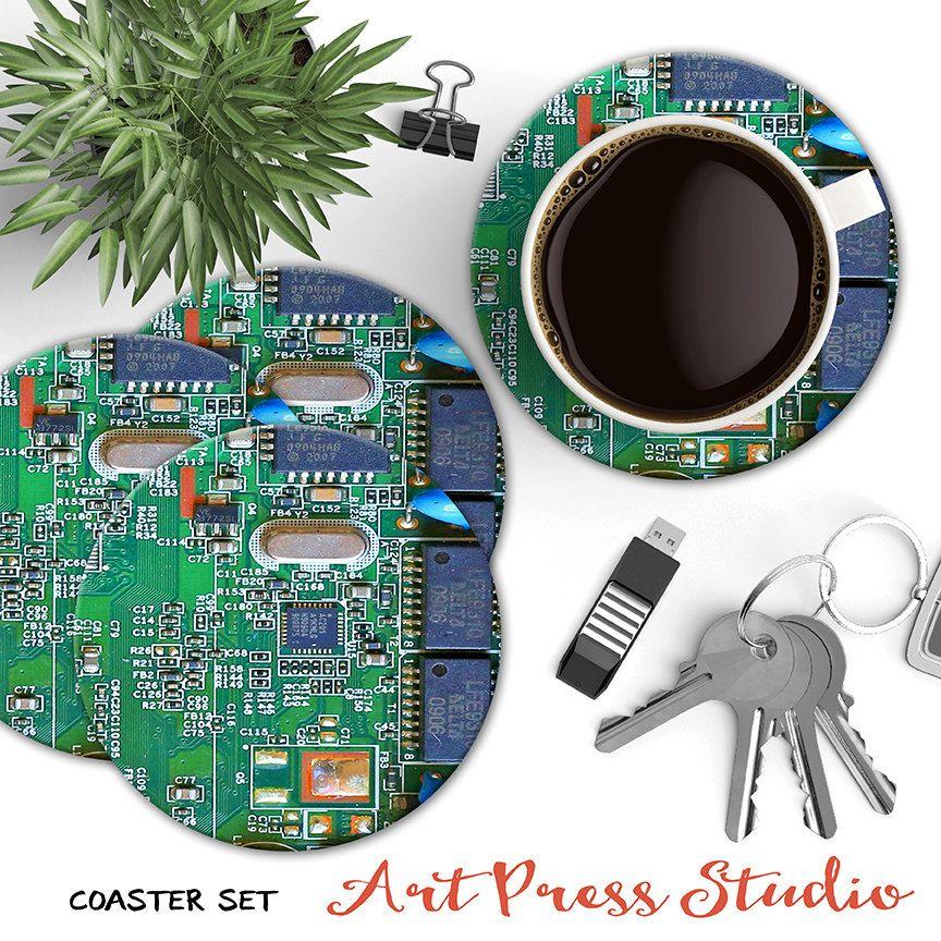 Circuit board coasters geekery coasters computer geek
