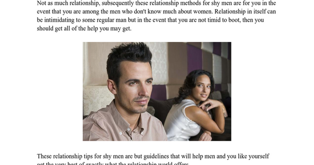 Shy men not dating