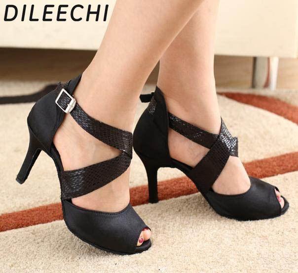 DILEECHI Brand Black Satin Snake Print PU Latin dance shoes Women s Spot soft  outsole Ballroom dancing shoes Waltz Salsa shoes b63758902bb0
