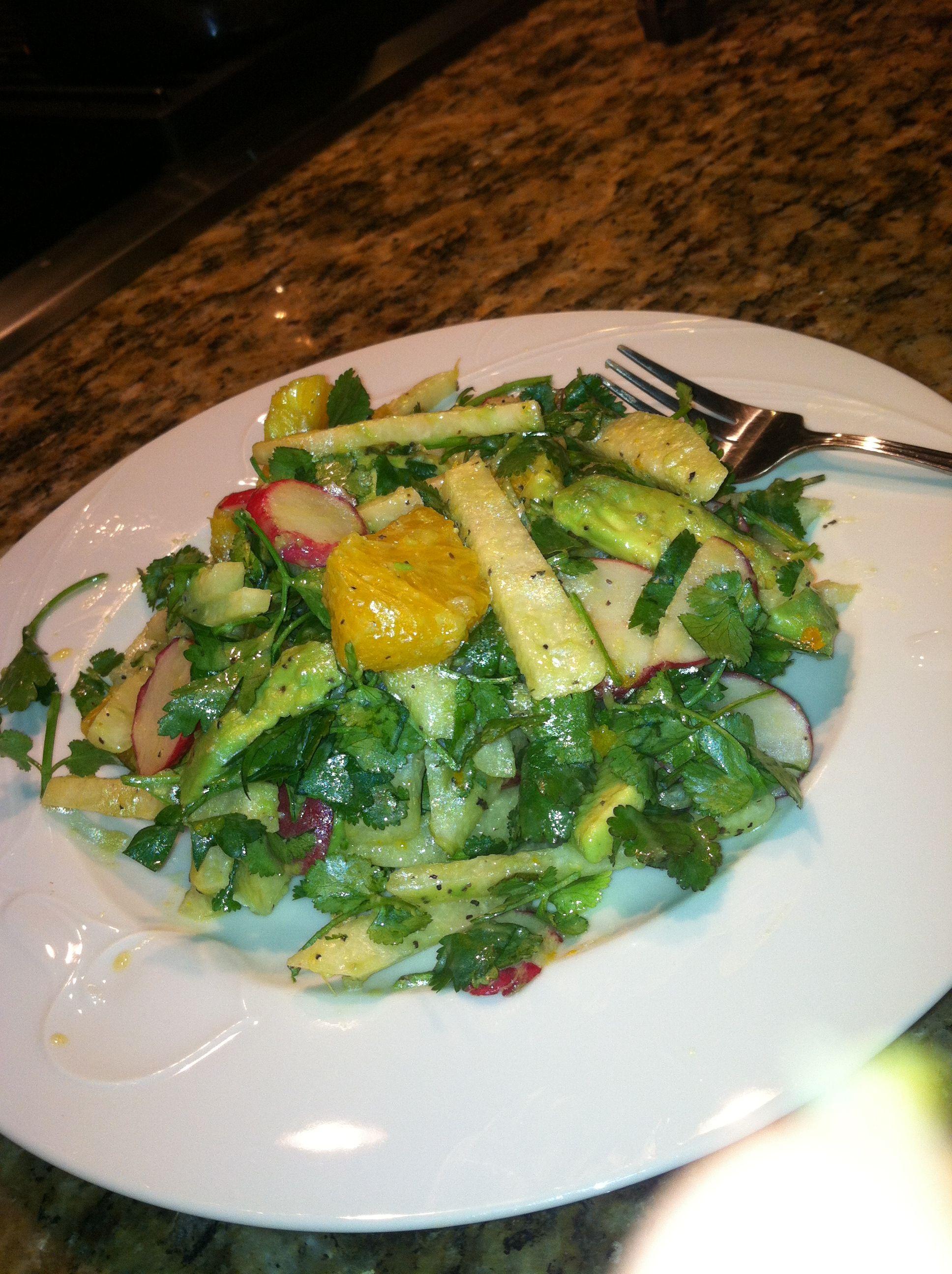 Jicama, orange, radish, avocado, cilantro salad! Bon apetit